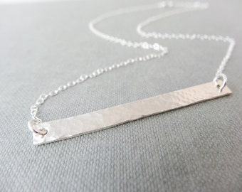 Hammered Silver bar necklace, sterling silver pendant, silver bar pendant, minimalist long bar necklace, polished silver necklace, handmade