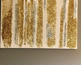 Captivating Gold And Silver Glitter Wall Art Photo