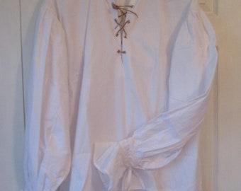 Renaissance - Men's Shirt - Pirate - White cotton - Medium