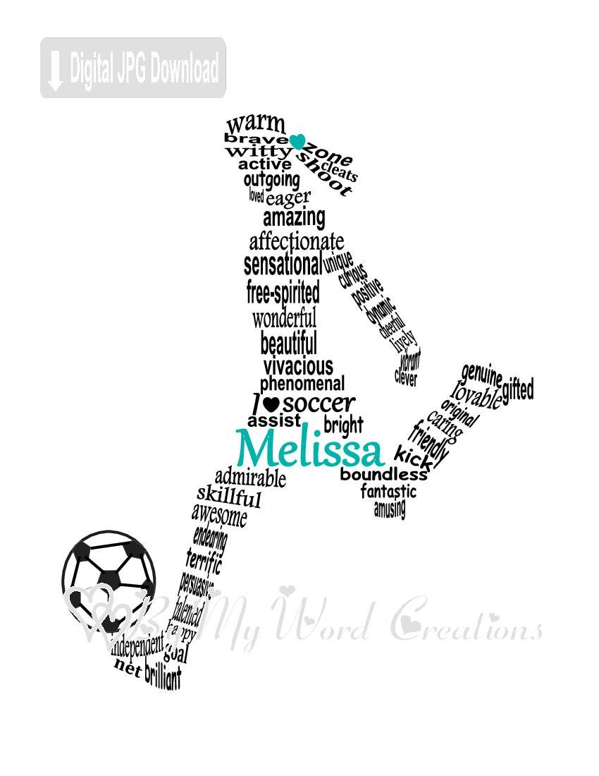 Soccer Player Word Art Football Player Word Art Personalized