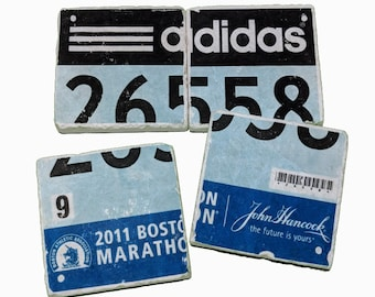 Personalized Race Bib Drink Coasters, Stone Coasters, Personalised Stone Coasters Runners Marathon