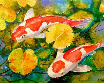 Koi in the pond Pond art, koi painting, nature, original oil art,great art,painting,impressionism,bright,beautiful,gift,for interior