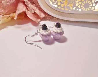 "15mm ""Purple and BlackBerry"" Cupcake earrings in polymer clay, 925 silver plated"