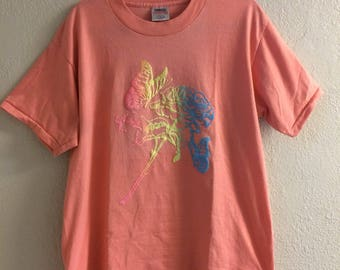 Vintage Pink T-Shirt With Rainbow Butterflies And Rose in Neon 3d Puffy Print