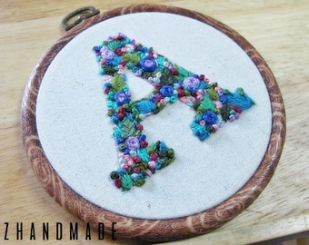 Monogram 'A' Hand Embroidery In 5 Inch Hoop | READY TO SHIP!