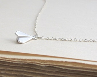 Silver Paper Airplane Necklace, Tiny Airplane Necklace, Silver Plane Necklace, Matte Silver Paper Airplane Pendant - Sterling Silver Chain