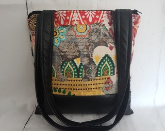 Elephant Print with Black Faux Leather Handbag, Ready to Ship