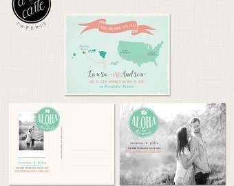Destination wedding invitation Hawaii, Save the Date Postcard with Couple Photo - Aloha - bilingual wedding invitation DEPOSIT PAYMENT