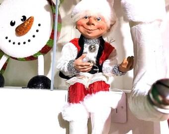"""Floridus 11"""" """"SNOWFLAKE"""" Elf (Red & Cream) FLO-XN713200"""