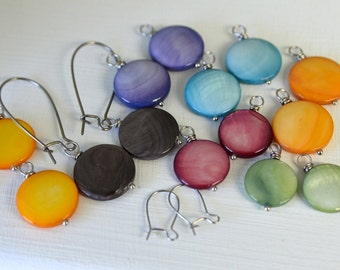 Pearl Earring SET with Sunflower, Tangerine, Periwinkle, Aqua, Celery, Rose, and Black Charcoal Pearls