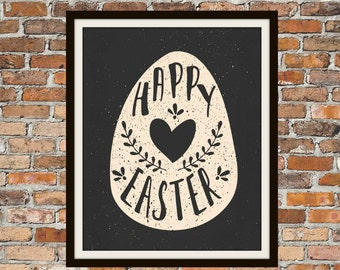 Happy Easter Egg - Easter, Happy Easter, Easter Print, Easter Art, Easter Egg, Spring Art, Spring, Spring Print, Calligraphy Art
