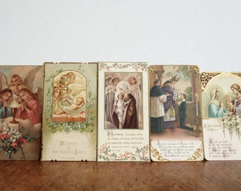 1920's and 30's French Religious Holy pictures, Prayer Cards, Souvenirs of Communion - set of 5