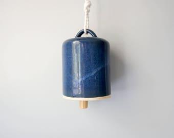 SALE Handmade Ceramic Bell, Ceramics Modern Pottery Bell, Rope Natural Wood, Modern Home Decor Wall Art Nursery Garden Office