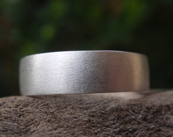 mens wedding band 5mm brushed / satin finish ring for men and women in sterling silver