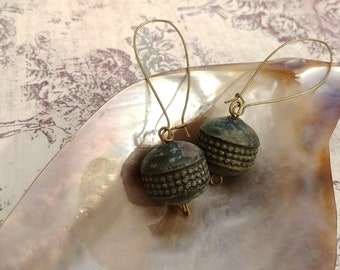 Vintage Patina Metal Bead Earrings