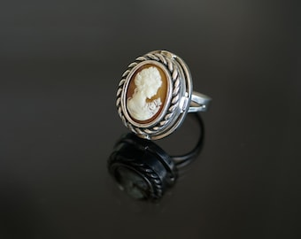 Cameo Ring | Sterling Ring Silver Handcrafted Oval Ring Cameo Ring Braided Setting Accent Mother's Day Gift for Her | Aleks Jewelry