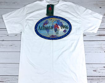 Deadstock NWT 90s 1996 ATLANTA Olympics Graphic T-Shirt Size: L Made in USA Rare