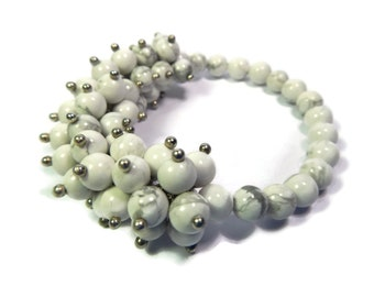 Bamboo Anemone - White Bracelet - Hand Looped/Beaded Cluster Stretch - Howlite Gemstone - Mishimon Designs