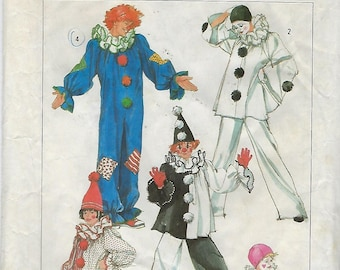 Simplicity 7649  Adults' and Boys' And Girls' Clown Costumes And Hats Size (6-8)