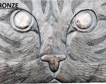 Cat Kitten Wall Plaque Relief Sculpture