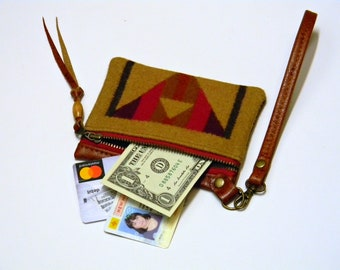 Leather and Wool ID Card Holder Oregon Woolen Mill Fabric Wristlet Wallet Zippered Credit Card Case and Leather Lanyard Southwest Coin Pouch