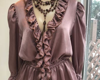 Vintage dusty light plum/mauve ruffled silk blouse, ruffled neck sleeves antique mauve dressy blouse sz M,  mauve pink peplum ruffle top