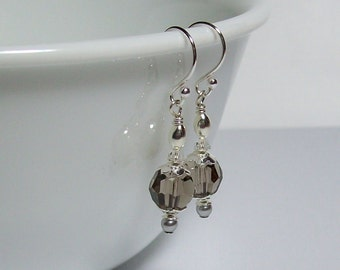 Swarovski Crystal Earrings. Gray Earrings. Sterling Silver Swarovski Earrings. Dressy. Sparkly. Everyday. Swarovski Dangle Earrings.