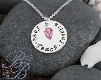Personalized Jewelry - Teacher's Necklace - Hand Stamped Jewelry - Teacher's Gift