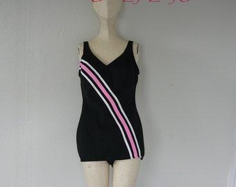Vintage 60s CABANA Swimsuit size 8 10 One Piece Skirted Preppy  Racing Stripe Black Pink Swim Suit