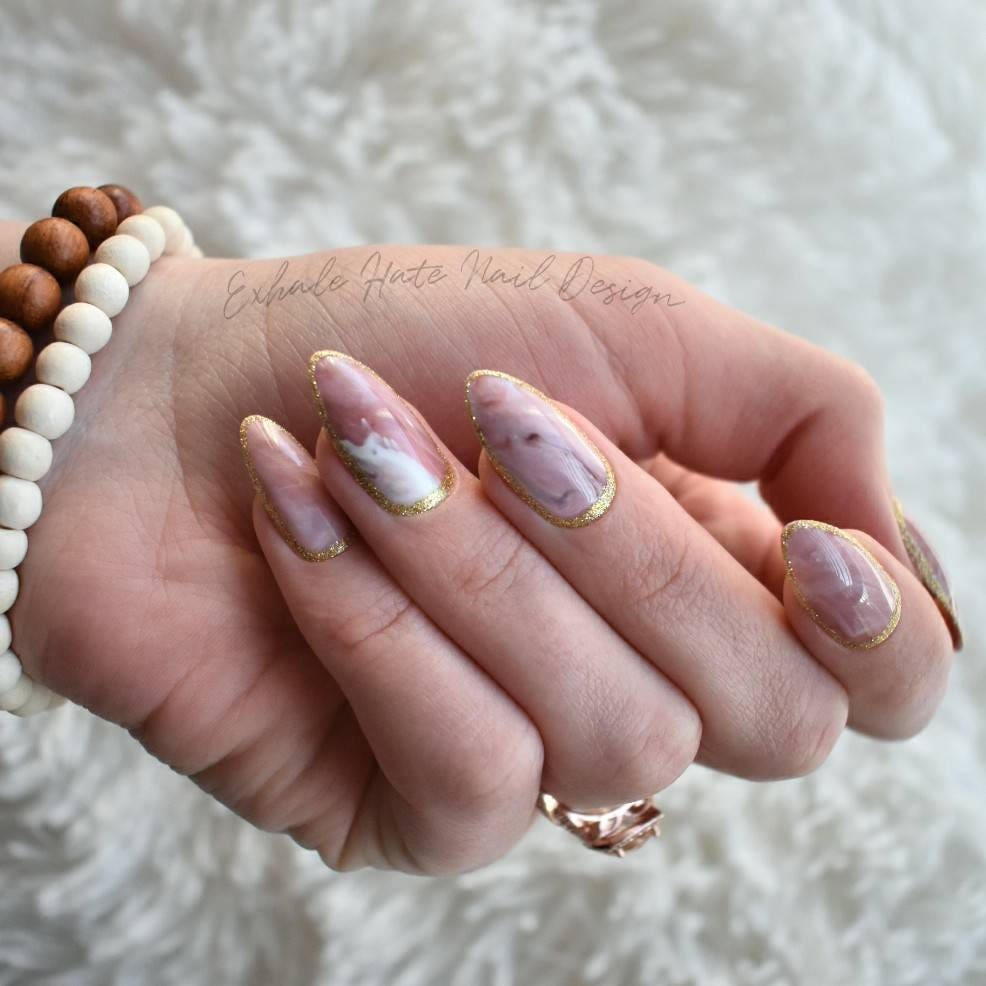 Pink Marble Nails   Full Set Almond Press Ons   Ready to Ship Fake ...