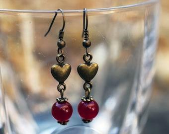 Rose Jade and Bronze Heart Earrings