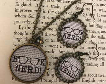 Book Nerd Vintage Inspired Necklace and Earring set
