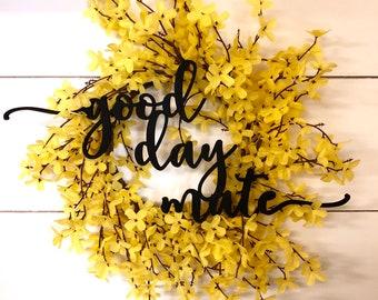 Mini Swirly Welcome Wood Word Cutout Wreath Decor, Good Day Mate Hello Sign, White Hello Laser Cutout