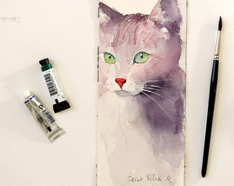 """Original painting of a cat with green eyes-original minimalist watercolor of a cat-pet painting feline painting-cat watercolour- 3.9"""" x 9.8"""""""