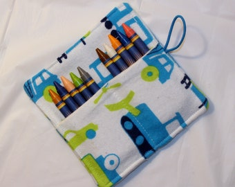 Blue Tractor Crayon Roll, Party Favor, Party Supplies, Gift Basket, Party Favor, Wedding Favor, School Supplies, Daycare Supplies