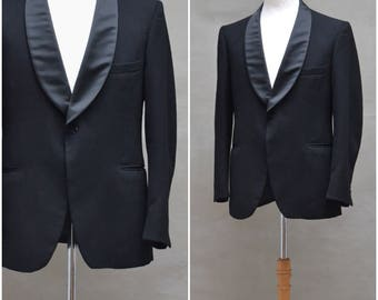 Vintage Tuxedo jacket, Men's black evening jacket / dinner jacket, Satin sheen shawl collar, Gentlemen's Tuxedo Blazer, Formal menswear