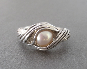 Design ring set with a Pearl Silver 925 t 54/55