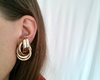Large Sculptural Statement Earrings -- Thick Knot in Gold-tone Chrome-like Tubes -- Vintage Clip-on in Modern Design