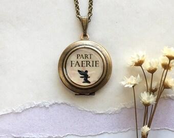 Part Faerie Locket - Fairy Brass Round Locket Necklace - Fae Jewelry