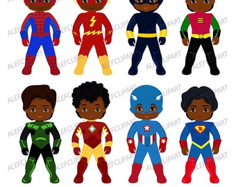 African American Superhero Clipart, Superhero Clipart,Superhero Kids Costumes Clip Art.