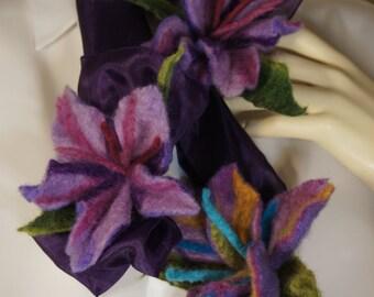 FFS006 - Silk Scarf with Three Felt Flowers