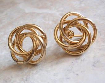 Love Knot Earrings Ronci Gold Filled Screw Back Mobius Birds Nest Atomic Vintage V0938L