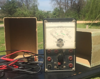 Vintage Electronic Measurements Corporation Ohm Meter, Electric Meter in box