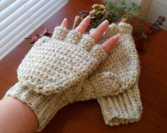 Warm Wool Crocheted Wheat Convertible Fingerless Mittens/Gloves - Cream Beige Brown Tan