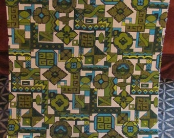 Vintage 60's Mod Mid Century Geometric Barkcloth Pre-Cut Fabric Piece - 46 x 24.5 sleeve - Sewing - Crafting - 60's Home Decor