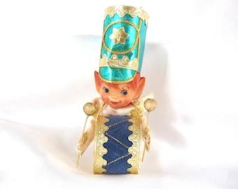 Vintage Christmas Ornament, Turquoise Blue Drum / Drummer Ornament
