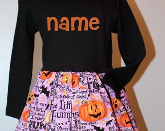 Personalized Halloween Dress - READY TO SHIP,  Size 4, Five Little Pumpkins , Halloween Party Dress,  thepunkinpatch