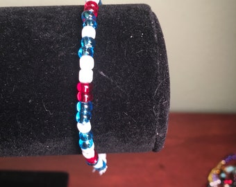 Captain American inspired stretch bracelet