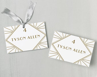 Printable Place Card Template | INSTANT DOWNLOAD | Gatsby Escort Card | Editable Colors | Mac or PC | Word & Pages | Flat or Folded