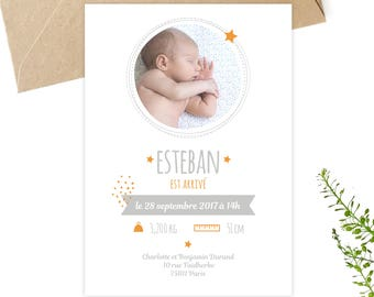 Birth to personalize, downloadable, printable invitation, petipeu, announcing birth, baby, baby card, orange